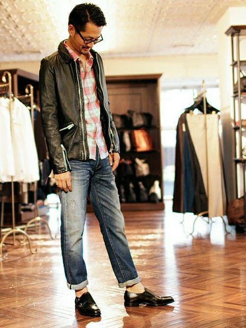 チェックシャツにカーキのジャケットとブルージーンズのコーデ