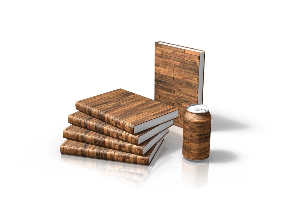 木目調カバーの本と缶